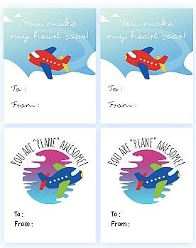 Free Printable Glider Plane or Airplane Valentine Template PDF