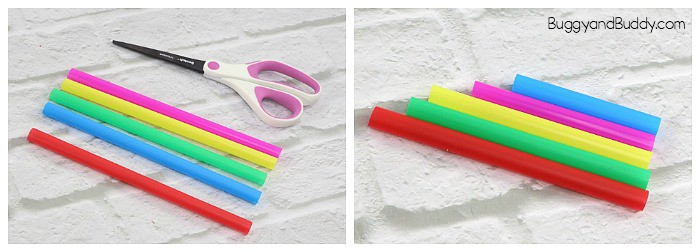 cut your straws for your pan flute craft stem activity