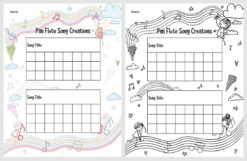 free printable recording sheet for straw pan flute craft