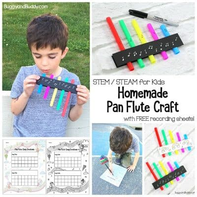 Homemade Pan Flutes for Kids with Free Printable Recording Sheet