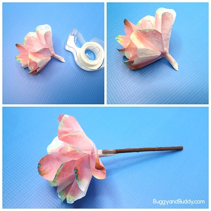 turn your coffee filter into a flower and tape it onto a twig