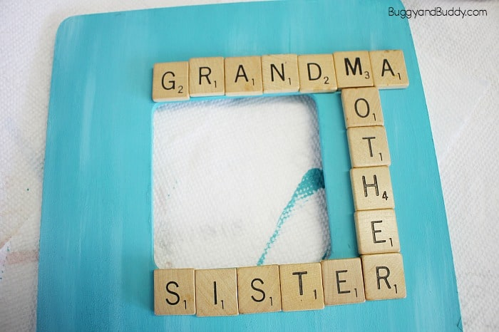 glue your wooden letter tiles onto your frame