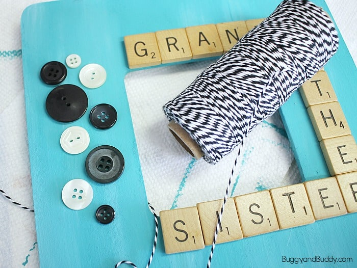 add some twine, yarn, and buttons to your frame craft for kids