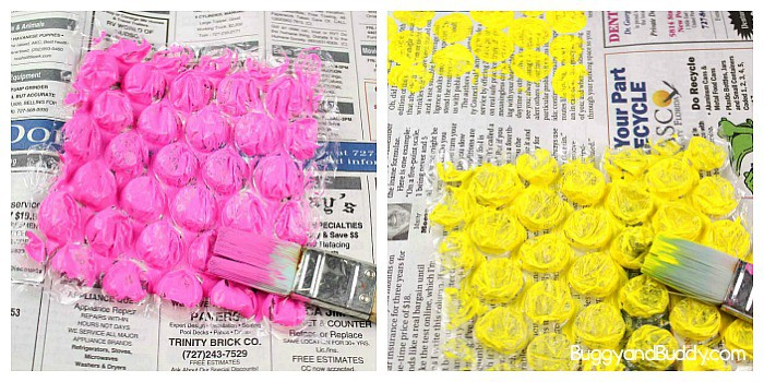 stamp your newspaper with painted bubble wrap