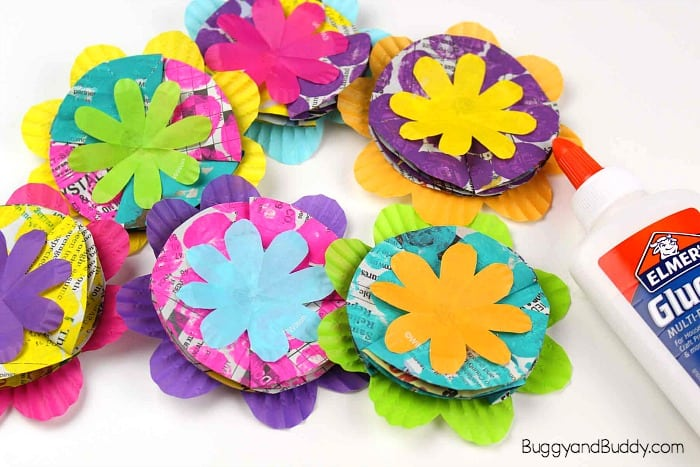 glue your cupcake liners and newspaper petals together to make your flower craft