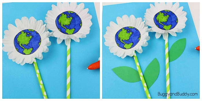 Earth Day Craft for Kids: Cupcake liner daisy flower