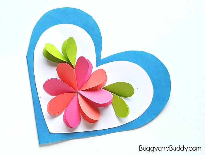 how to make a flower card using paper hearts