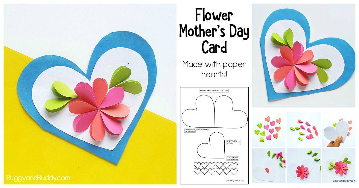 Homemade Heart And Flower Card Craft For Kids Buggy And Buddy