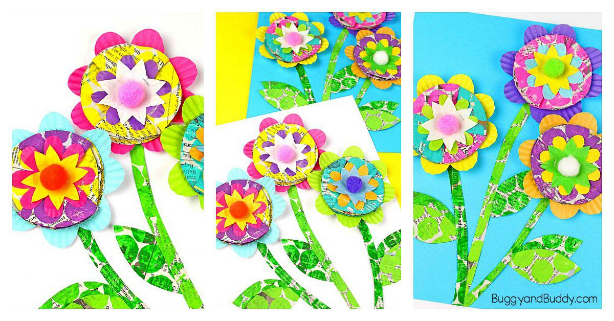 Mixed Media Flower Craft For Kids Flower Craft Using Newspaper Bubble Wrap Cupcake