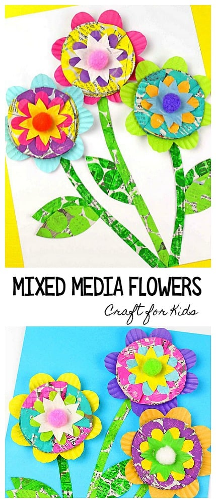 Mixed Media Flower Craft for Kids: Flower craft using newspaper, bubble wrap, cupcake liners. Perfect for spring and Mother's Day