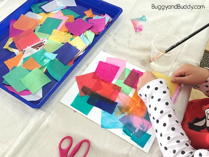 add bleeding tissue paper to your entire canvas using water and a paintbrush
