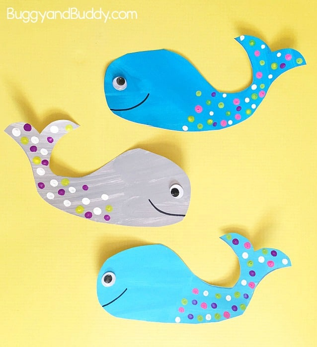 easy whale craft for kids with free printable whale template