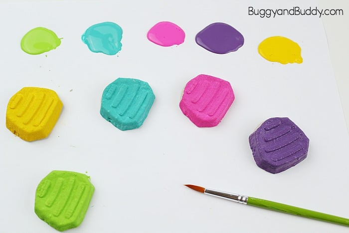 paint your cardboard snail shells