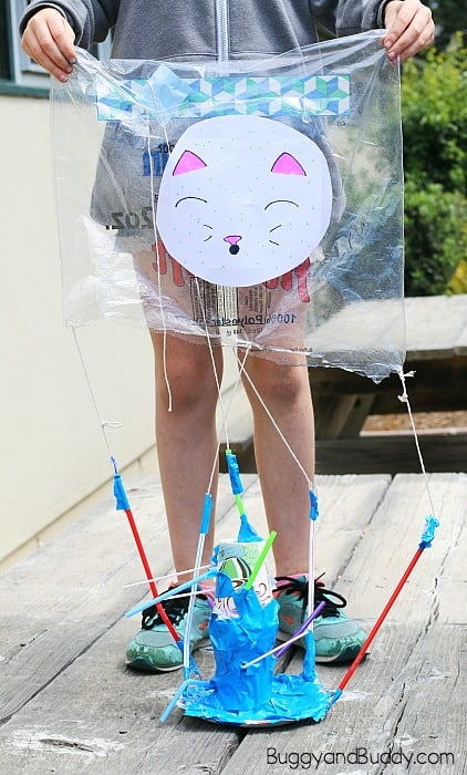 cat themed egg drop contraption for the egg drop challenge