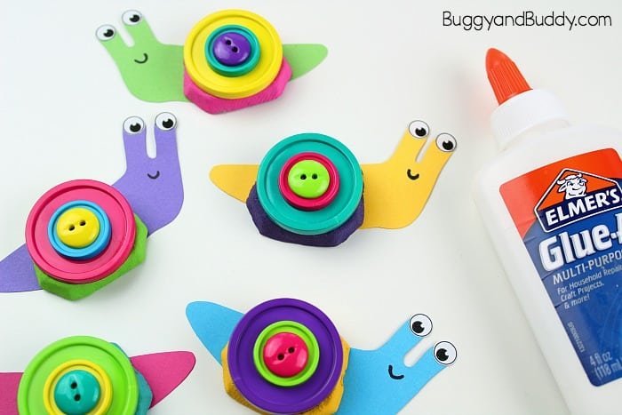 glue buttons onto your snail craft for kids