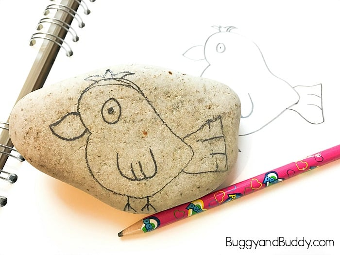 draw your bird onto your rock with a pencil
