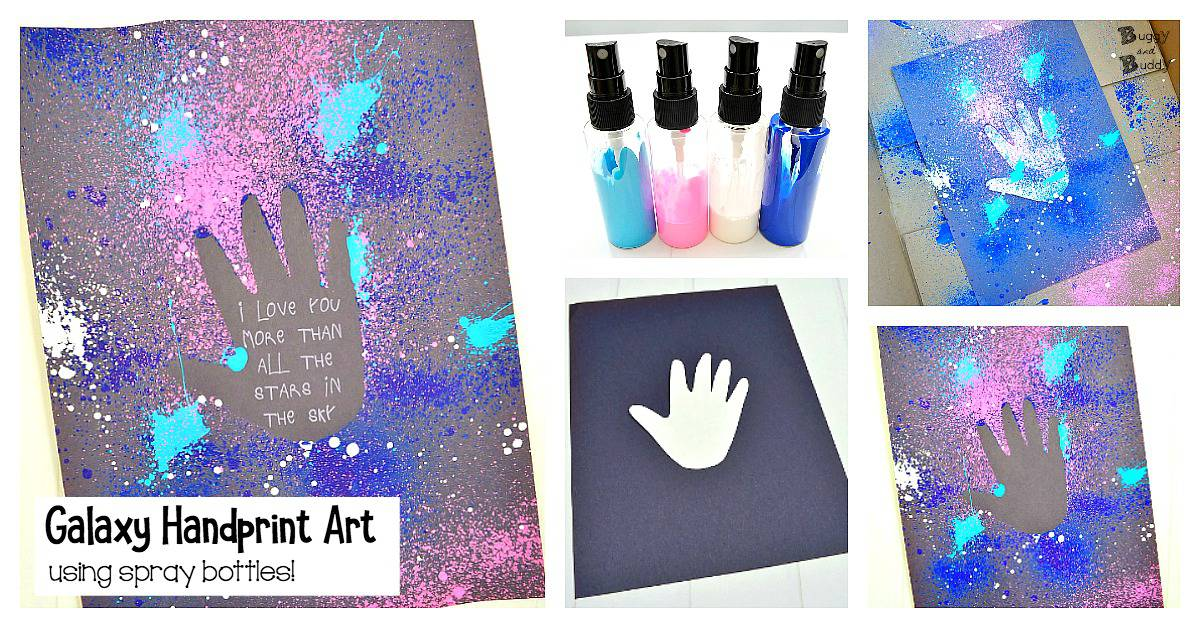 Galaxy Handprint Art for Kids: Process Art Resist Technique Using spritzer or spray bottles. Great for Mother's Day or Father's Day or just for fun!