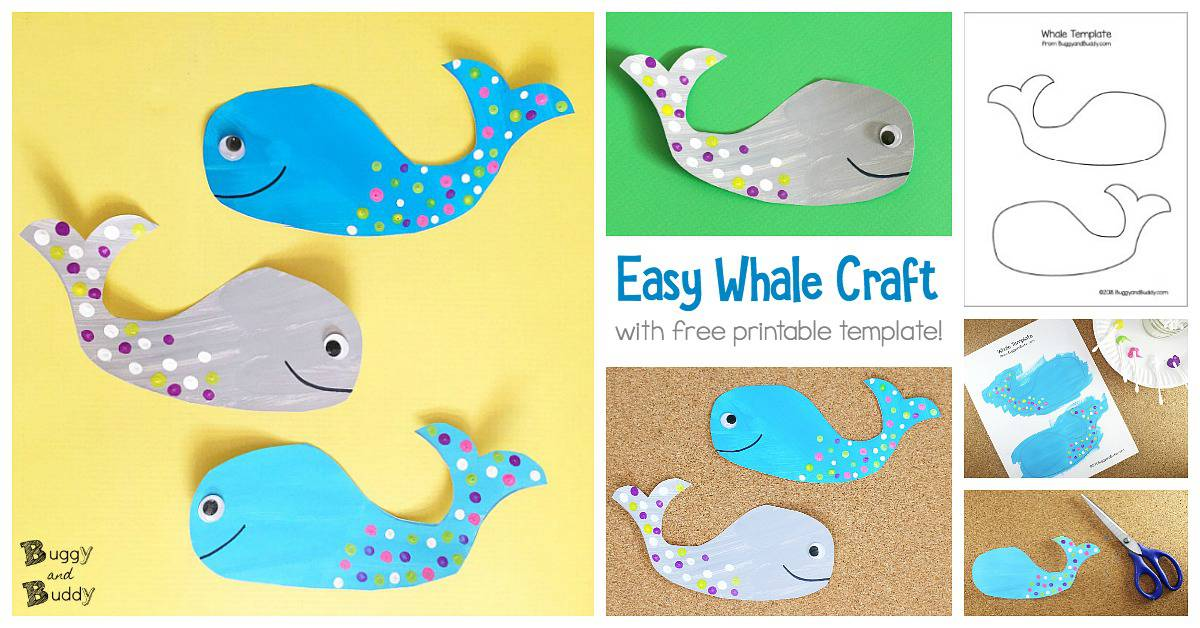 photo regarding Printable Crafts for Kids named Whale Craft for Young children with Absolutely free Printable Template - Buggy