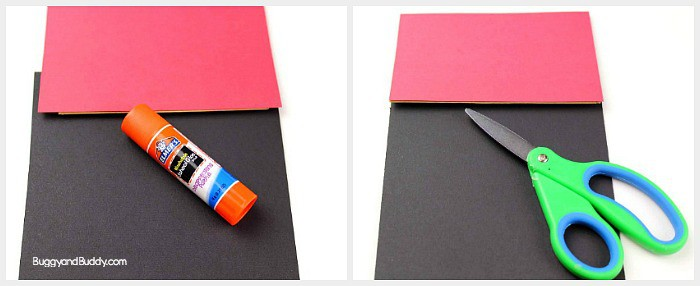 glue red and black construction paper to your paper bag