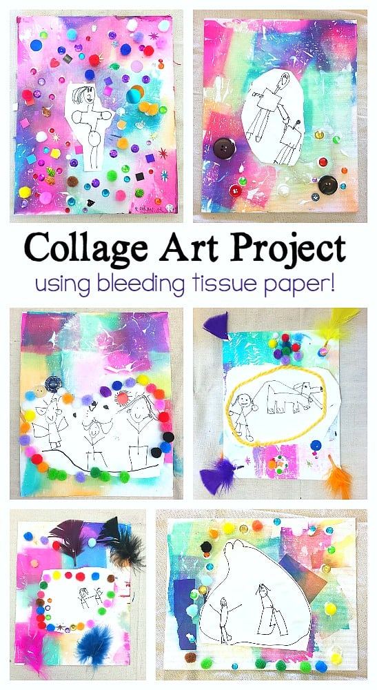Collage Art Project for Kids using bleeding tissue paper- perfect process art for mother's day