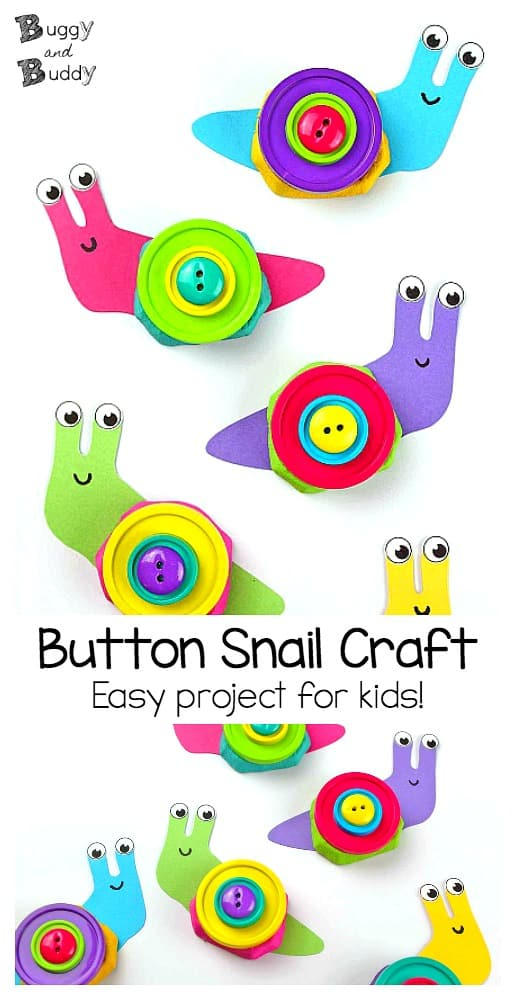 easy button snail craft for kids using drink carrier or egg carton