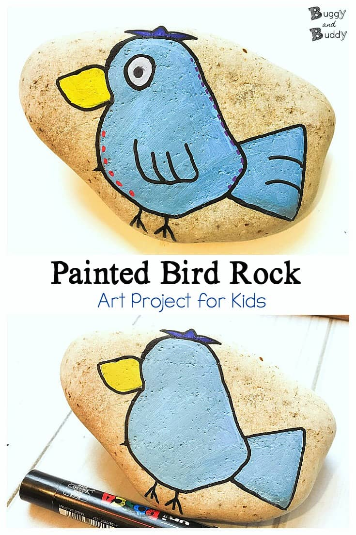 Rock Painting for Kids: How to Paint a Bird Stone (Fun art and craft for kids)