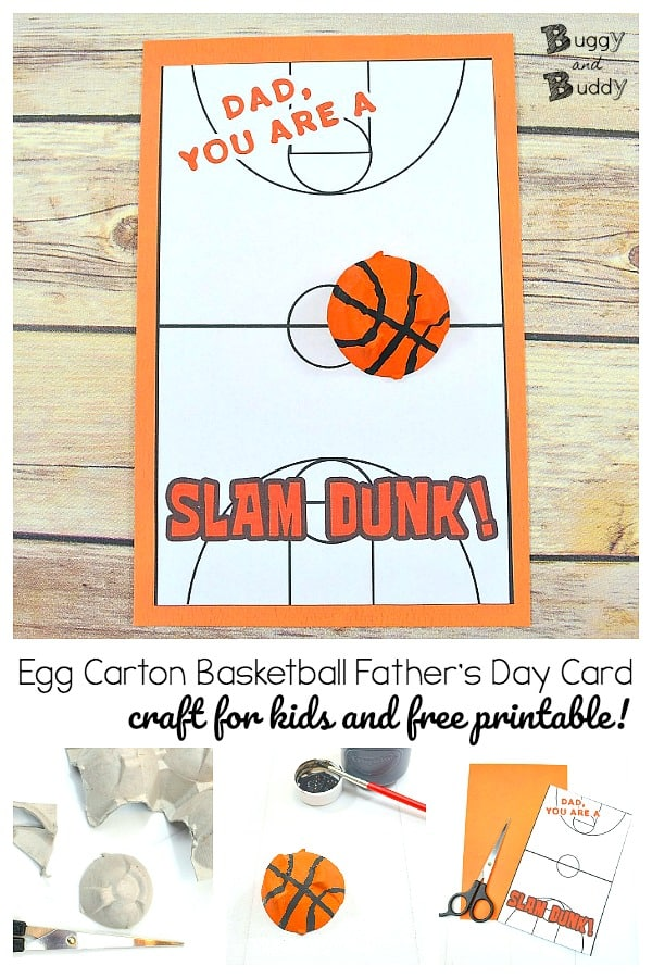 Egg Carton Basketball Father's Day Card Craft for Kids with free template