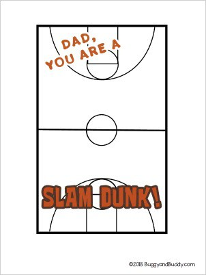 free printable basketball father's day card for kids to make
