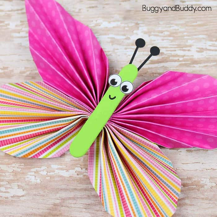 Folded Paper Butterfly Craft For Kids Buggy And Buddy