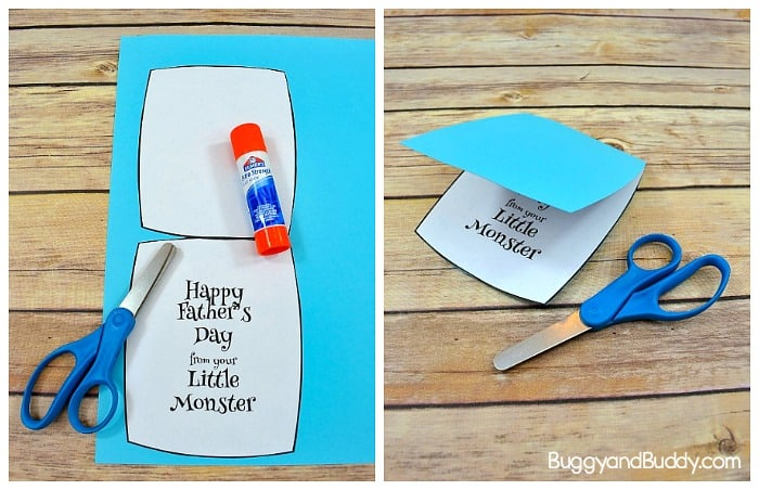 glue the free printable father's day card message into your monster head