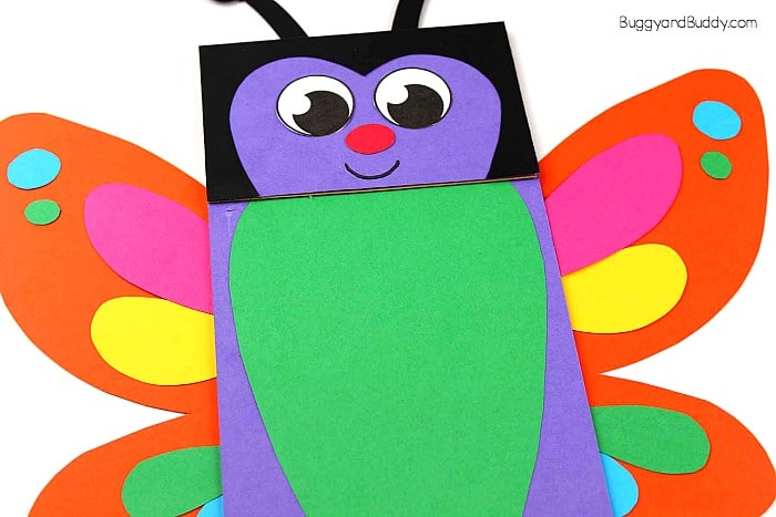 paper bag butterfly puppet craft for kids