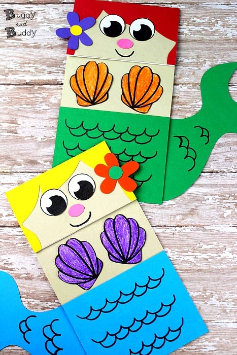 image about Free Printable Mermaid Template identify Mermaid Paper Bag Puppet - Buggy and Pal