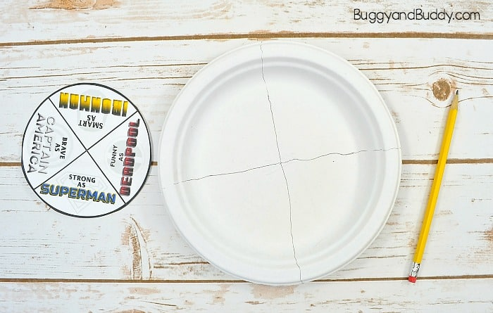 segment your paper plate into four sections for your spinner superhero Father's Day card