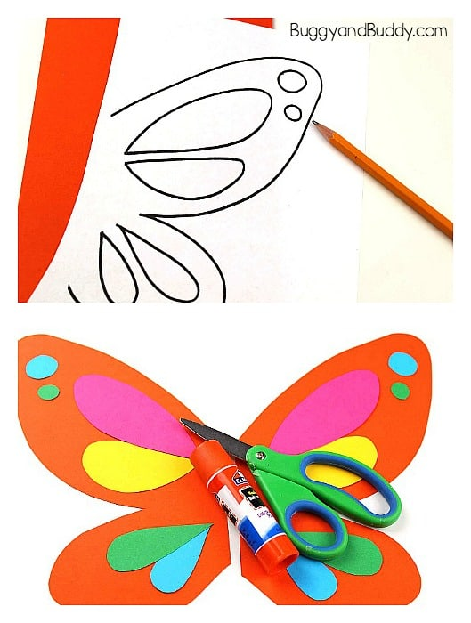 make your butterfly wings for your paper bag puppet
