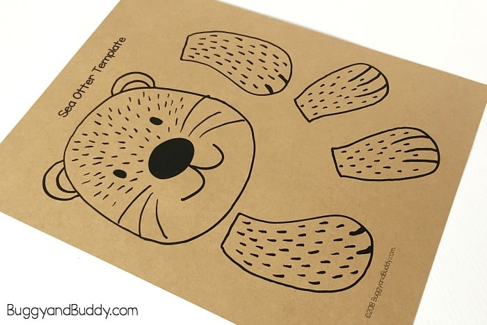 print out the free sea otter template printable PDF