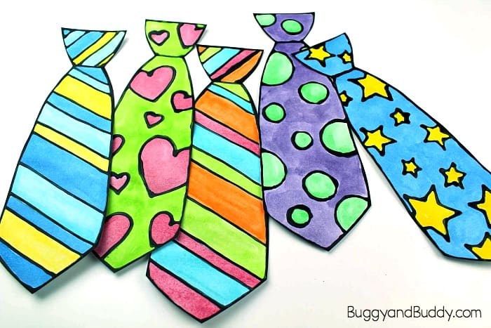 Father's Day Tie Craft for Kids Using Black Glue and Watercolor and free template