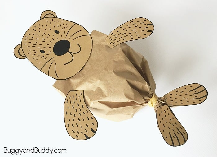 sea otter paper bag craft for kids with free printable template