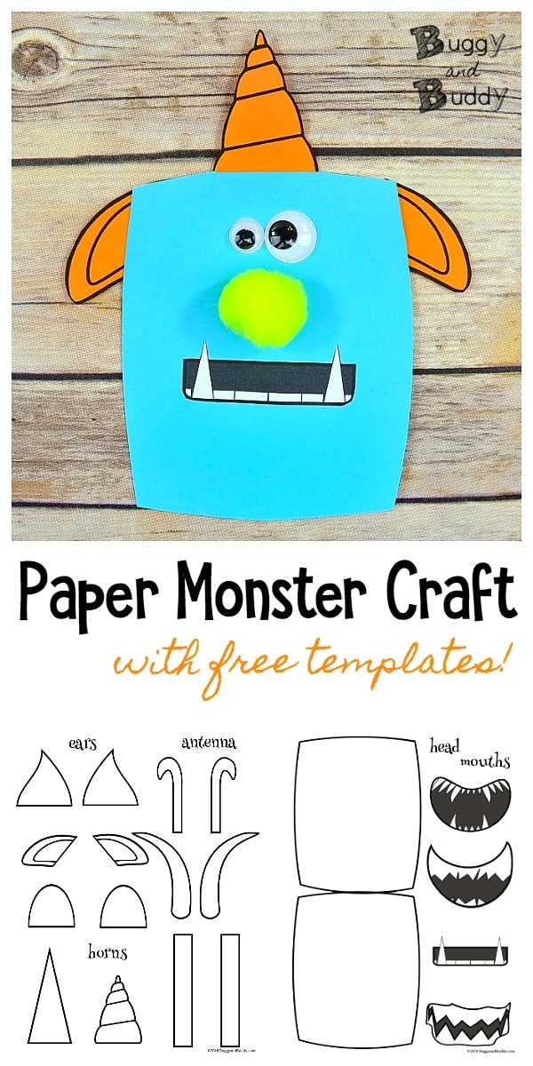 Cute Paper Monster Craft for Kids with Free Printable Monster Templates