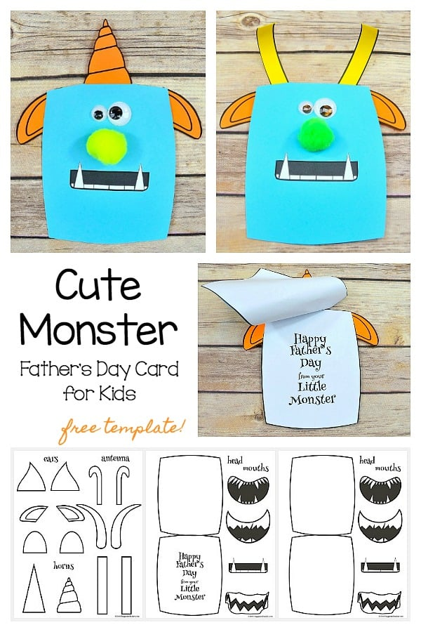 monster father s day card craft for kids with free templates buggy