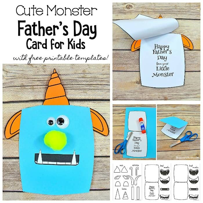 image regarding Free Printable Father's Day Cards called Monster Fathers Working day Card Craft for Youngsters with Absolutely free Templates
