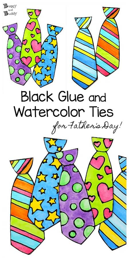 Father's Day Tie Craft for Kids: Make colorful ties using black glue and watercolor paint! A fun art technique for children!