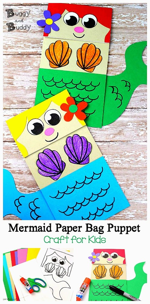 photo relating to Free Printable Mermaid Template called Mermaid Paper Bag Puppet - Buggy and Good friend