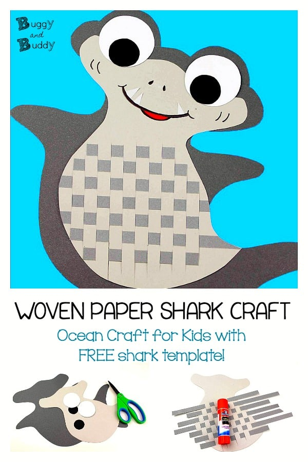 Woven Paper Shark Craft for Kids with Free Shark Template Printable