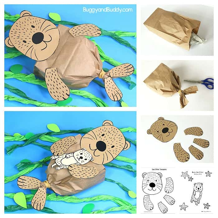 graphic regarding Free Printable Sea Creature Templates referred to as Paper Bag Sea Otter Craft for Little ones with Totally free Printable