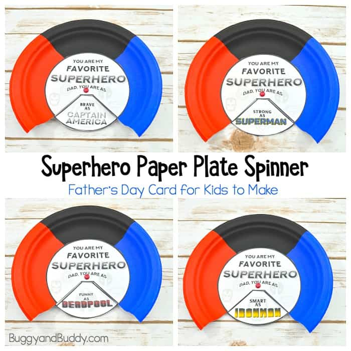 image regarding Free Printable Superman Template identified as Superhero Fathers Working day Card: Paper Plate Spinner Craft for