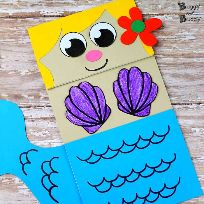Mermaid Paper Bag Puppet Craft for Kids with free printable PDF mermaid template