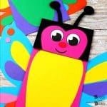 Butterfly Paper Bag Puppets with Free Template