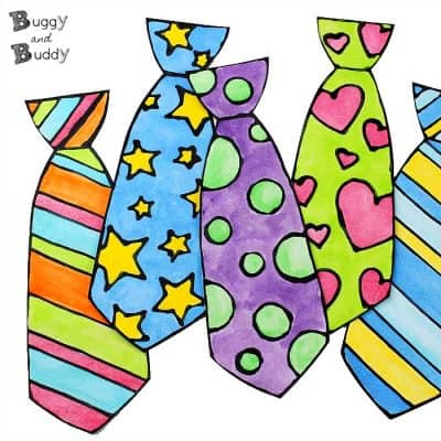 Father's Day Craft for Kids: Black Glue and Watercolor Tie