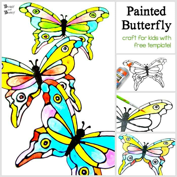 colorful painted paper butterfly craft with free template using black glue and watercolors looks like