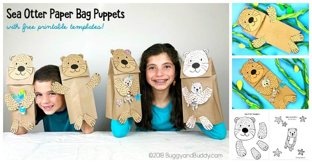 Sea Otter Paper Bag Puppet Craft for kIds with free sea otter and starfish templates!